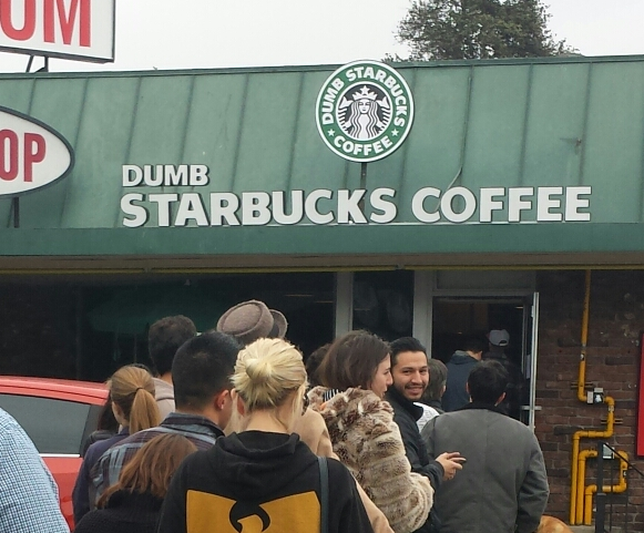 Dumb Starbucks at 9:30 a.m. on Sunday, February 9, 2014. Photo: Lisa Borodkin